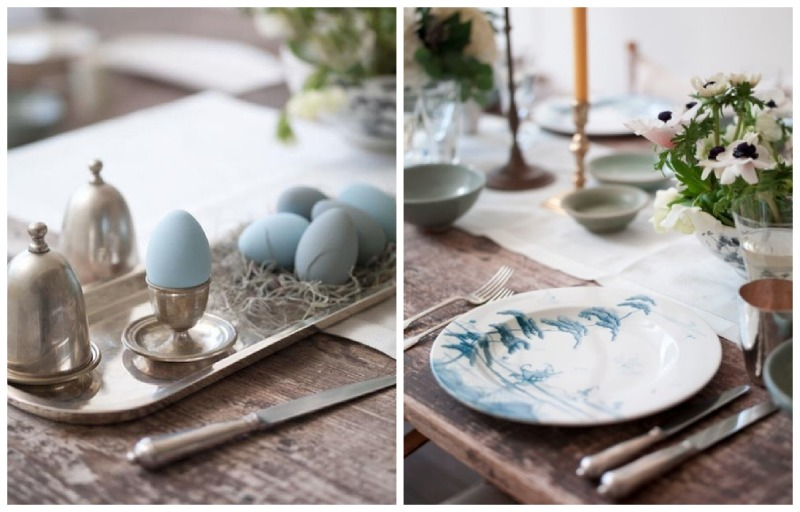 Nomad luxuries an inspirational spring table filled with baby blue eggs and china.