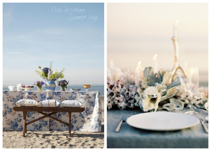 Nomad Luxuries an inspirational side by side photo of a rosy hued tablescape.