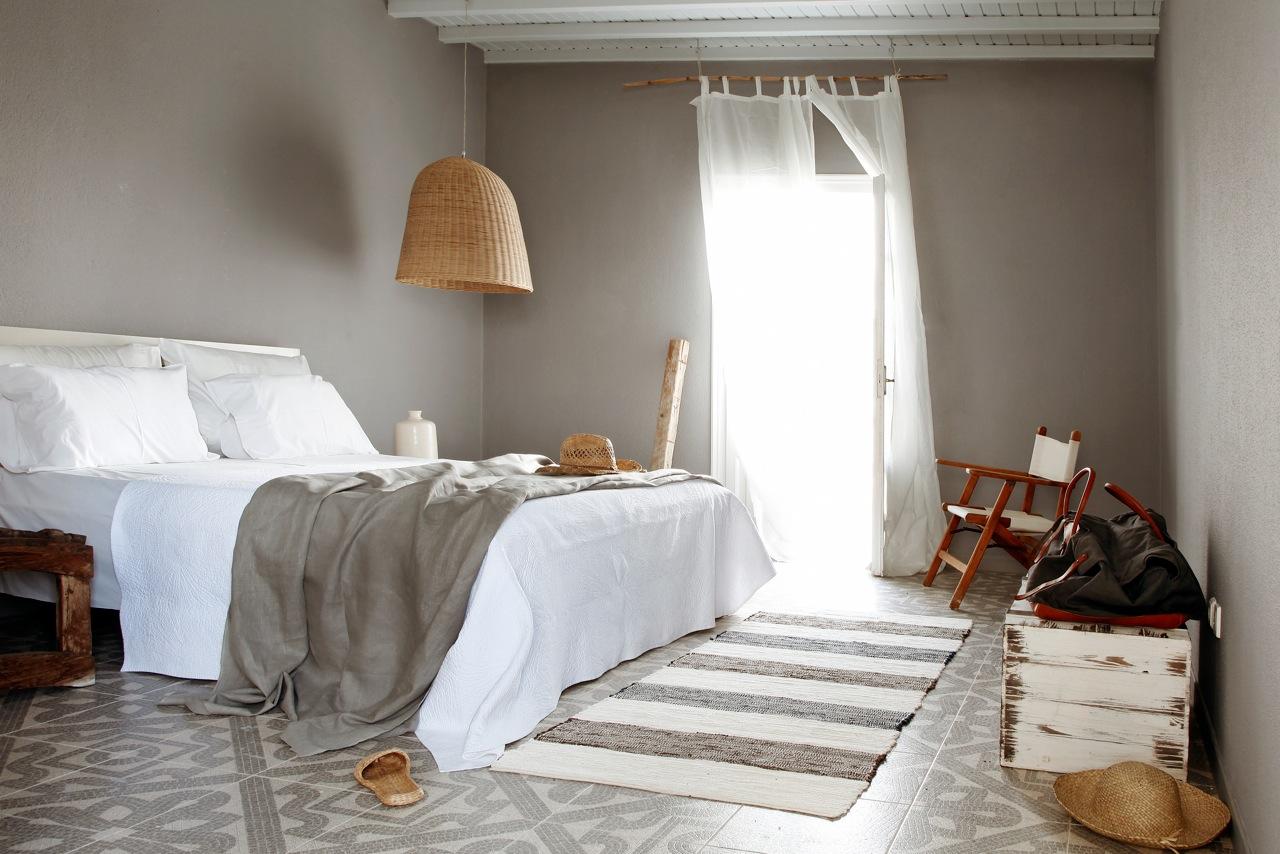 grey bedroom mykonos