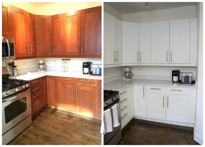 ... Before And After The Kitchen Cabinets That Came With Our Condo Were The Ikea  Adel Doors ...