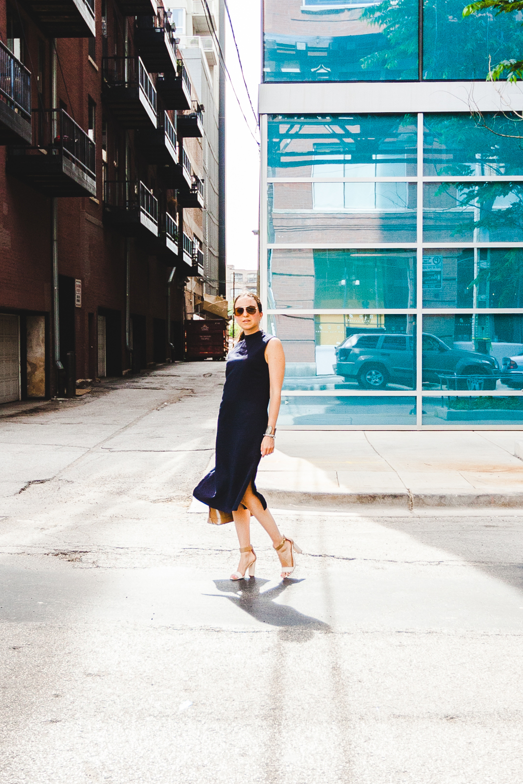 NoMad Luxuries Minimal Navy City Dress