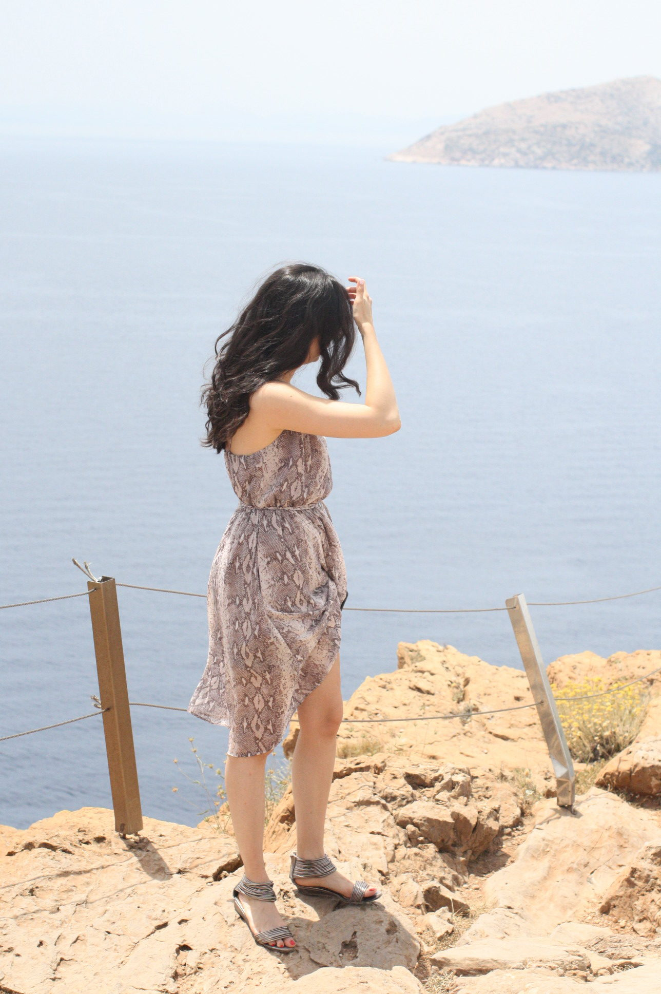 NoMad Luxuries Snakeskin Dress in Sounion Greece