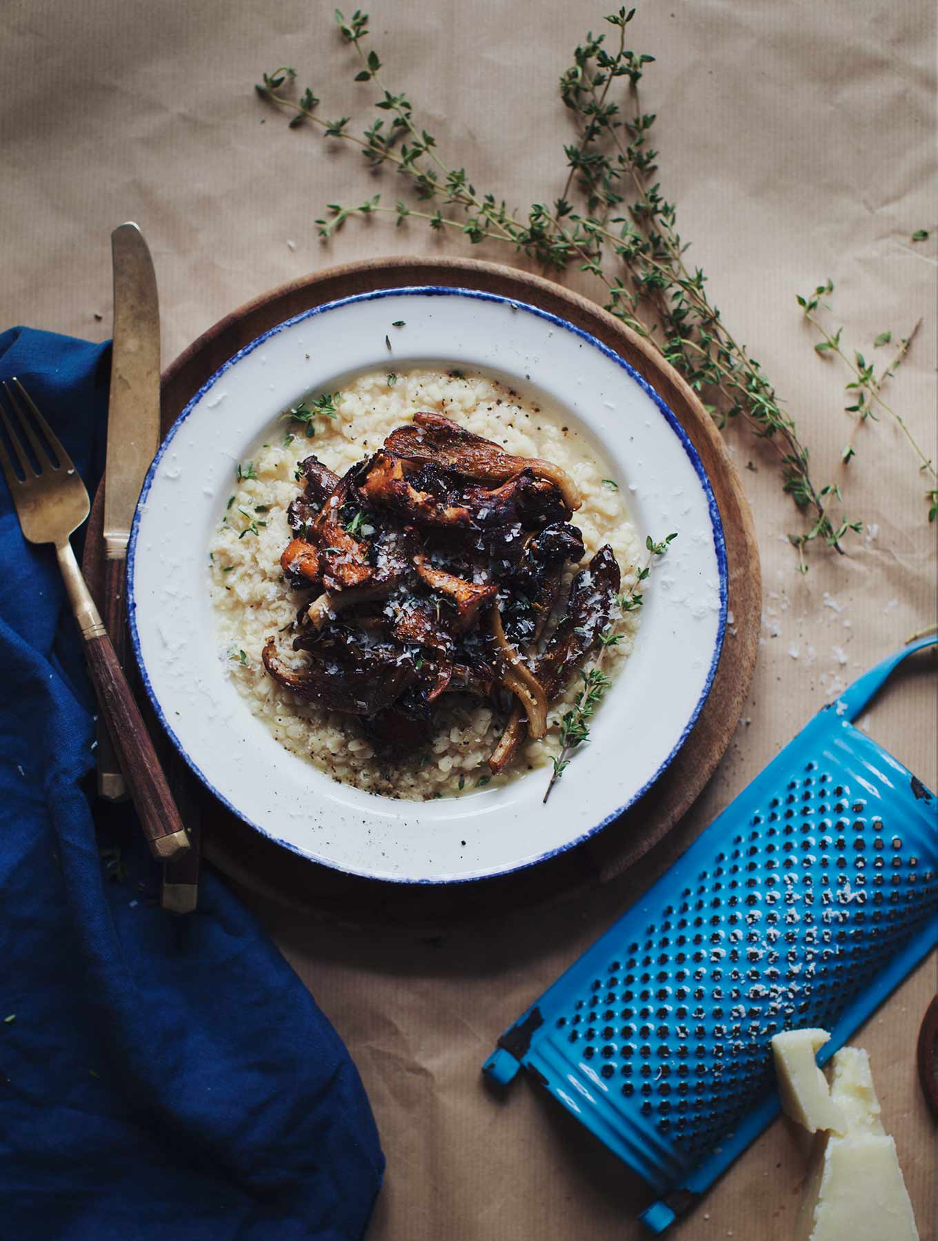 NoMad Luxuries recipe for a white lentil risotto with mushrooms for a simple sunday dinner