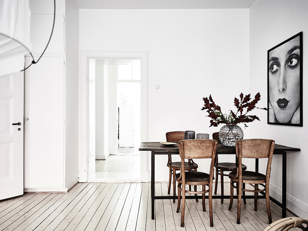NoMad Luxuries Home Tour Scandinavian design rustic and white washed apartment and a bright dining room