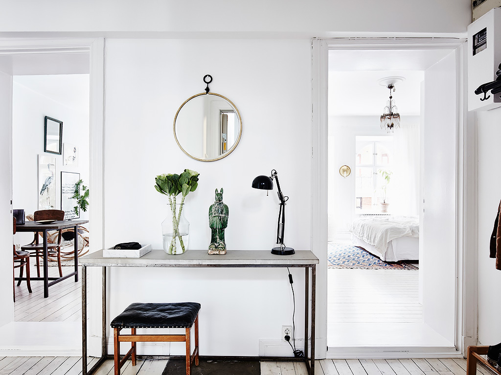 NoMad Luxuries Home Tour Scandinavian design rustic and white washed apartment and a bright entry