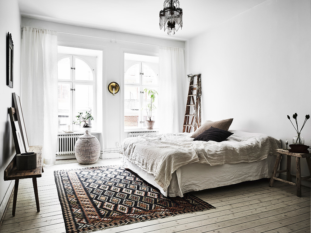 NoMad Luxuries Home Tour Scandinavian design rustic and white washed apartment and a cozy bedroom