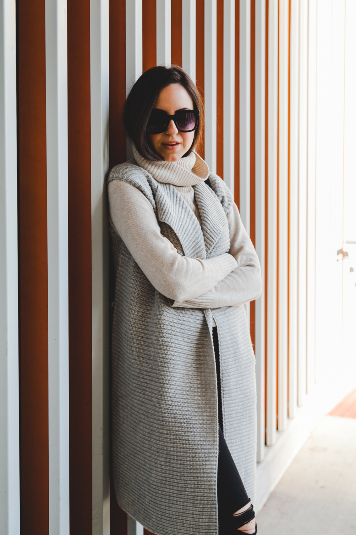 Yana Frigelis of NoMad Luxuries wearing a layered look from Banana Republic, Asos and Zara in Neutrals