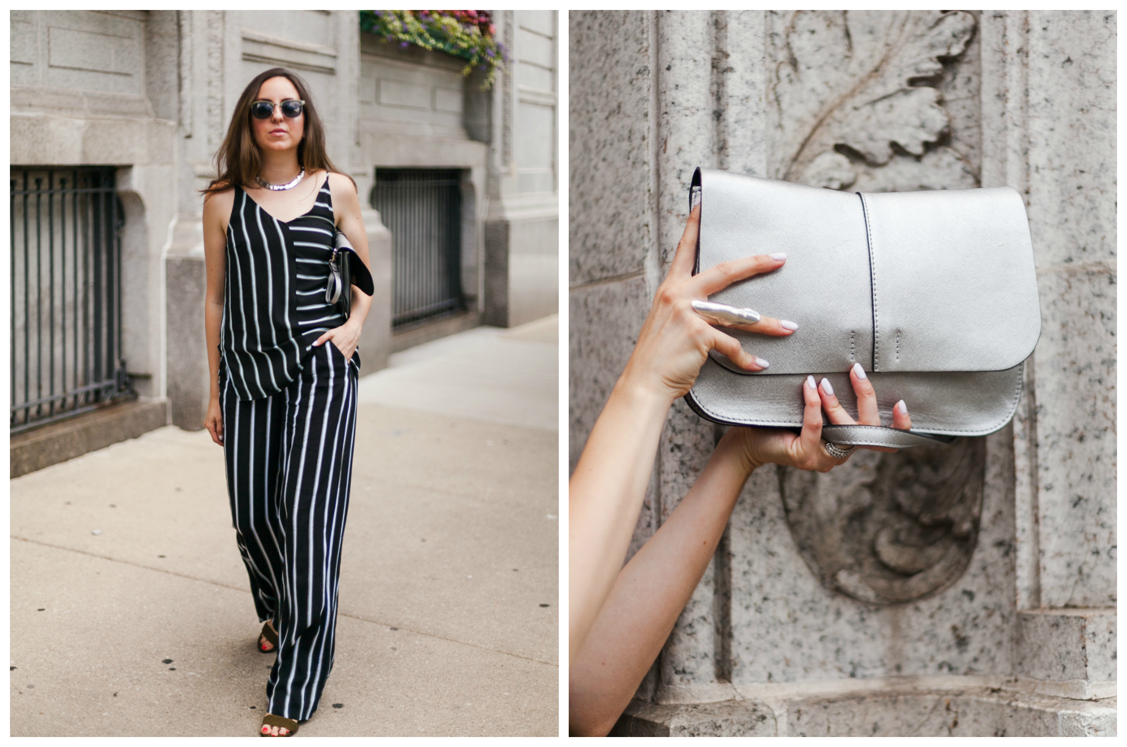 Yana Frigelis of NoMad Luxuries wearing a striped coord set transitioning into fall wardrobe