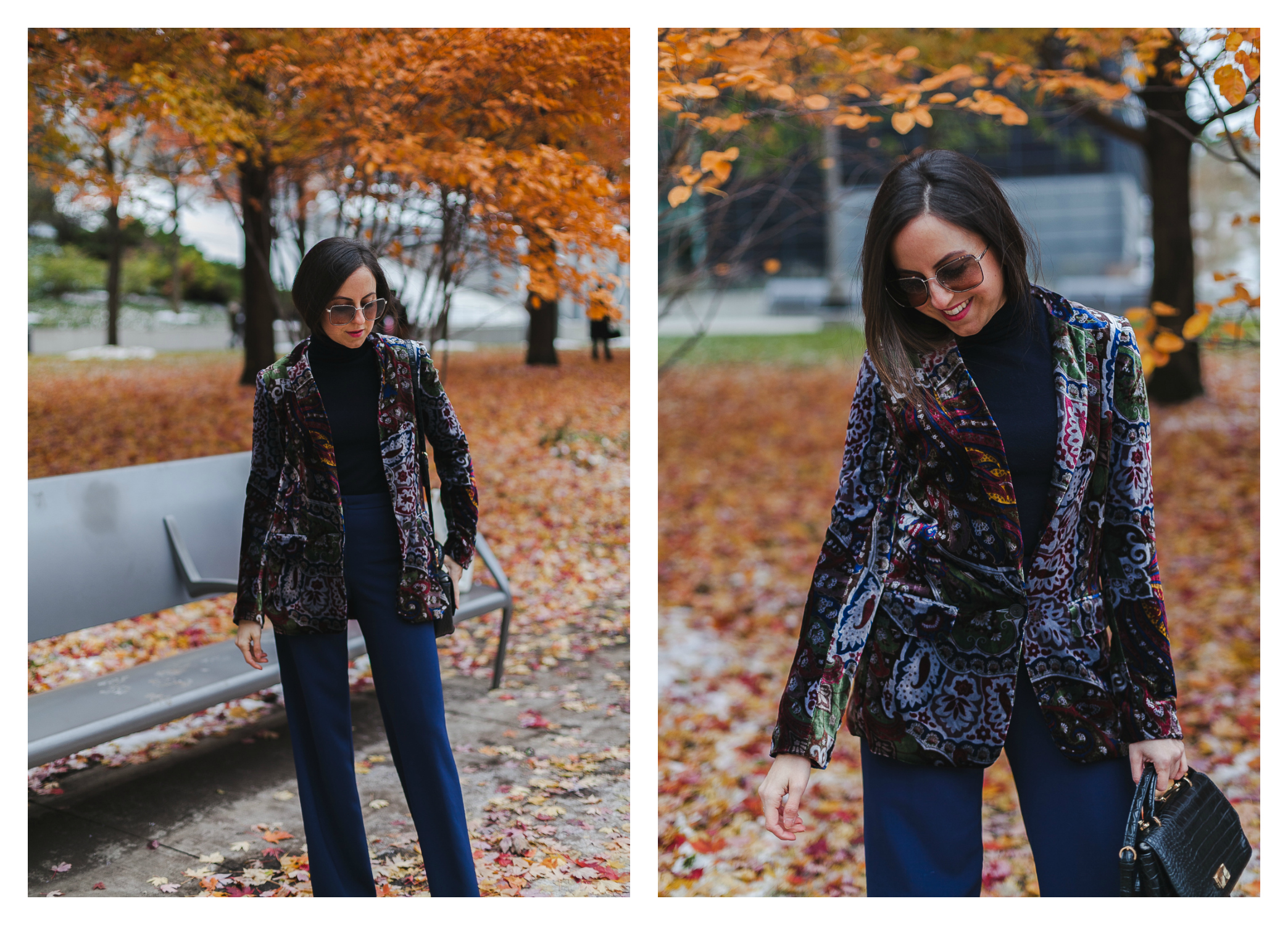 Yana Frigelis of NoMad Luxuries wearinga velvet paisley blazer, high-waisted navy pants for Thanksgiving with a 70's vibe in Chicago