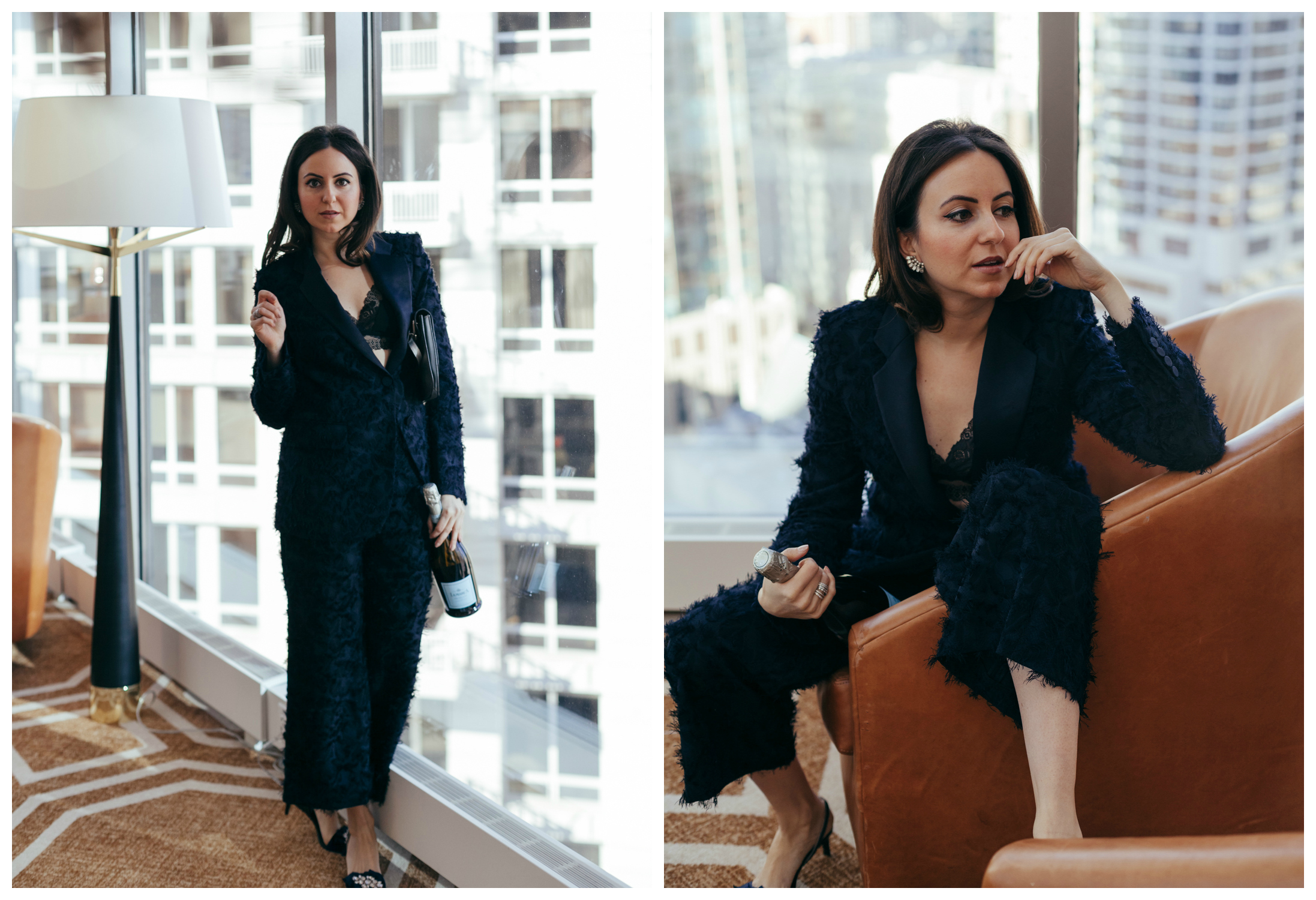 Yana Frigelis of NoMad Luxuries styles a navy blue suit for New Year's Eve Celebrations