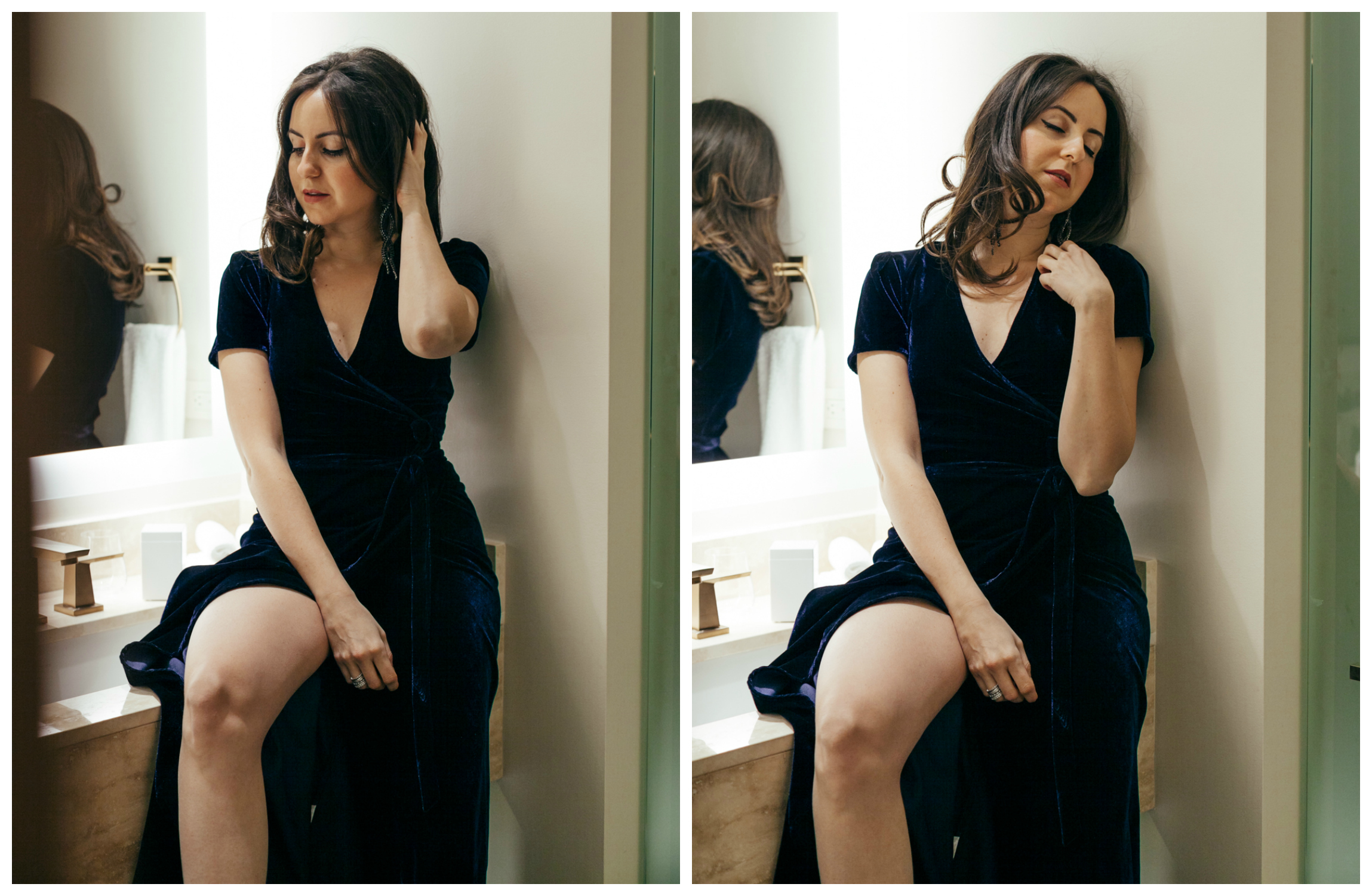 Yana Frigelis of NoMad Luxuries wears a navy, velvet wrap dress and retro inspired makeup