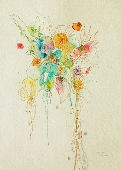 Nomad Luxuries images of yangyang pan's artwork in light of collaboration with illustrations of water colored flowers