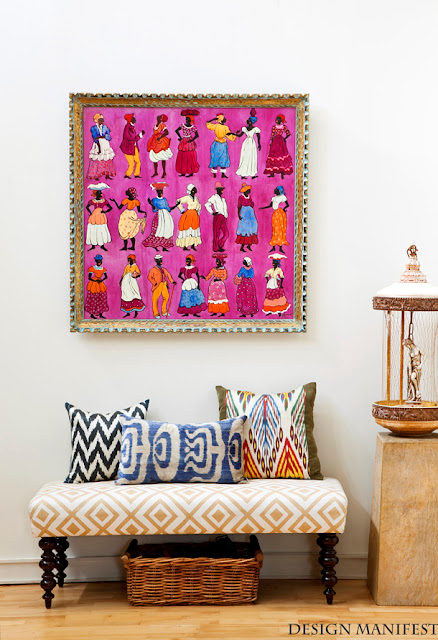 Nomad Luxuries photo capturing bright canvas painting.