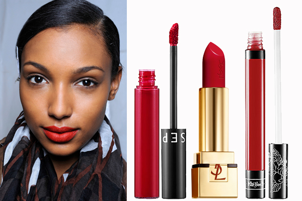 Nomad Luxuries photo collage of classic red lip colors with different undertones for various skin tones.
