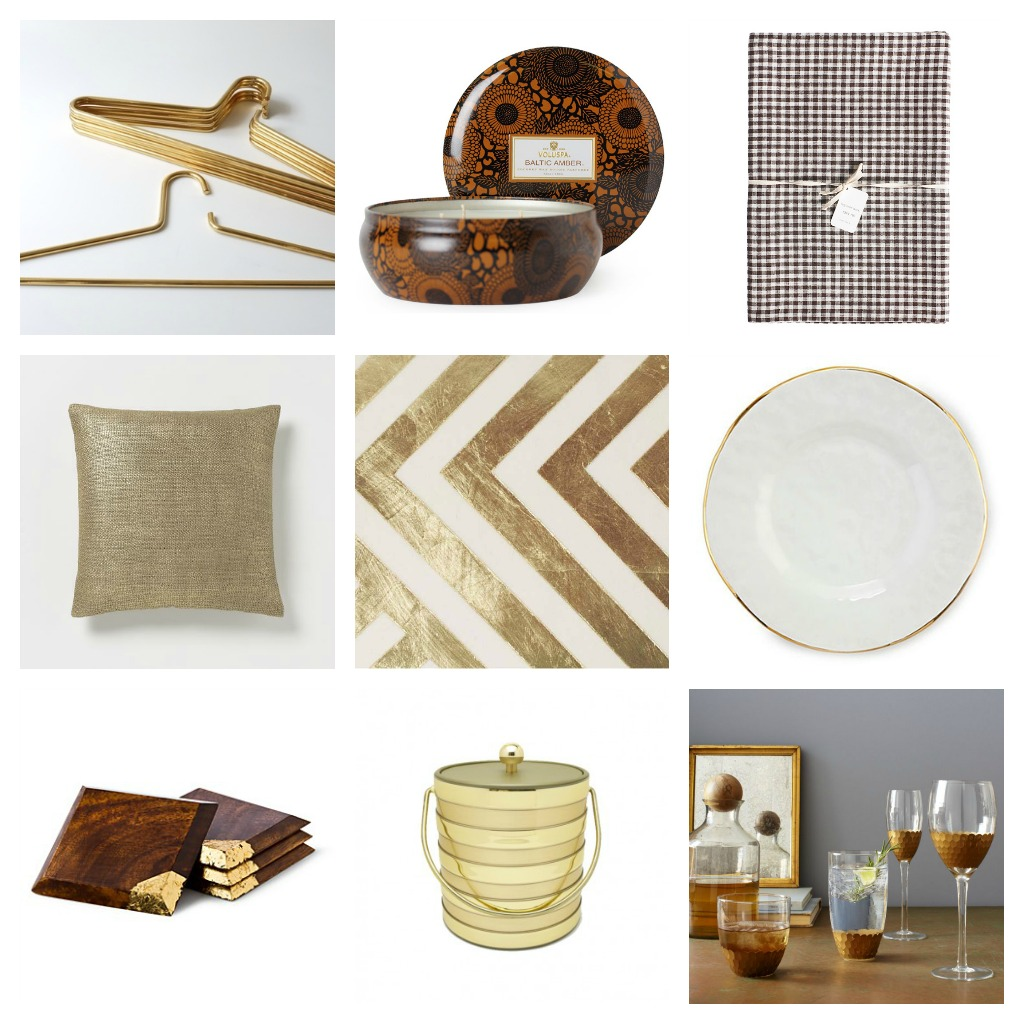 Nomad Luxuries photo collage of gold and white themed fall entertaining essentials.