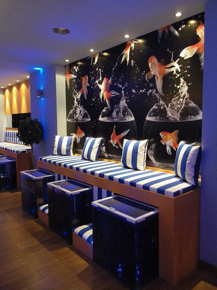 Nomad Luxuries displaying nautical interior design of a fish spa.