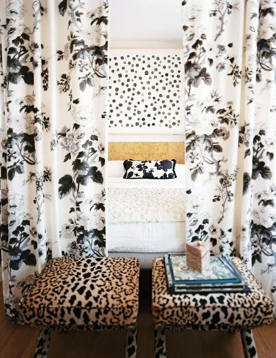 Nomad Luxuries image via Lonny Magazine of ways to mix prints within a bedroom