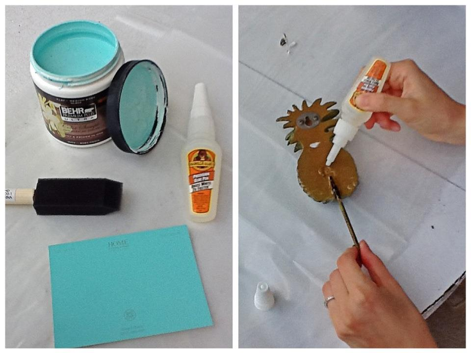 Nomad Luxuries photo displaying diy painting process of pineapple hooks.