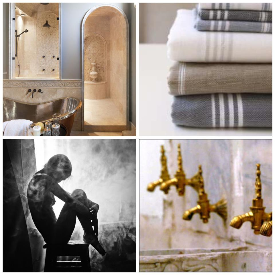 Nomad Luxuries inspirational photo collage of Hamam style interior ideas.