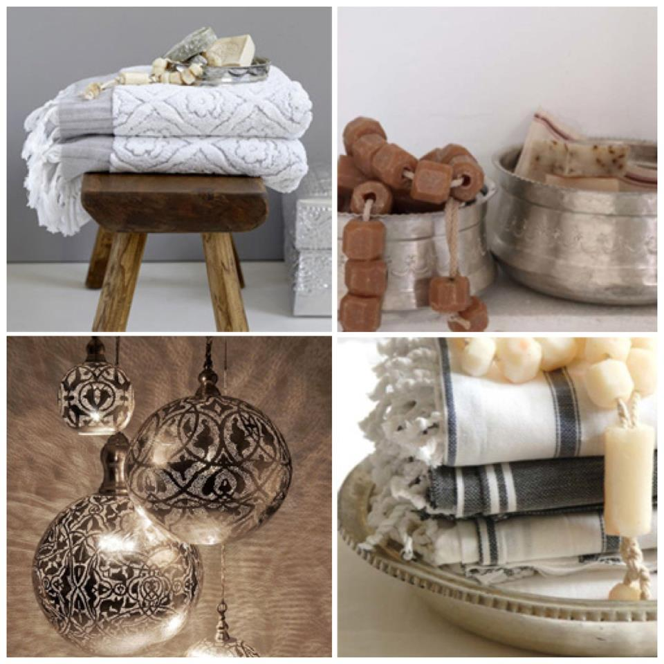 Nomad Luxuries photo collage of Hamam inspired bath and interior essentials.