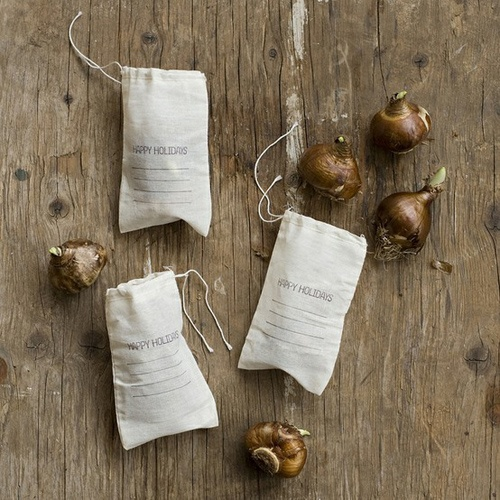 Nomad Luxuries; holiday gift bags of paper white bulbs.