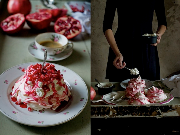 Nomad Luxuries photo collage of pomegranate merengue dessert for the Halloween season.