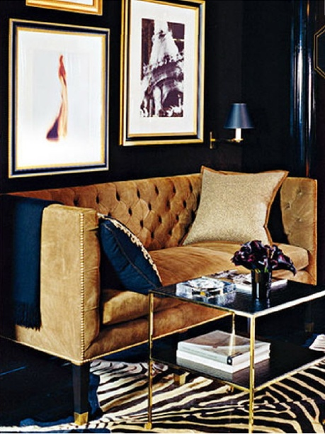 Nomad Luxuries photo of navy and gold interior.