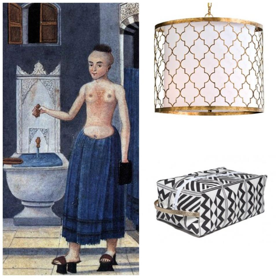 Nomad Luxuries Hamam inspired photo collage of paintings and interior decorum.