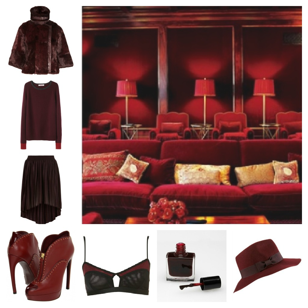 Nomad Luxuries photo collage of oxblood color schemed items from fashion to interiors.