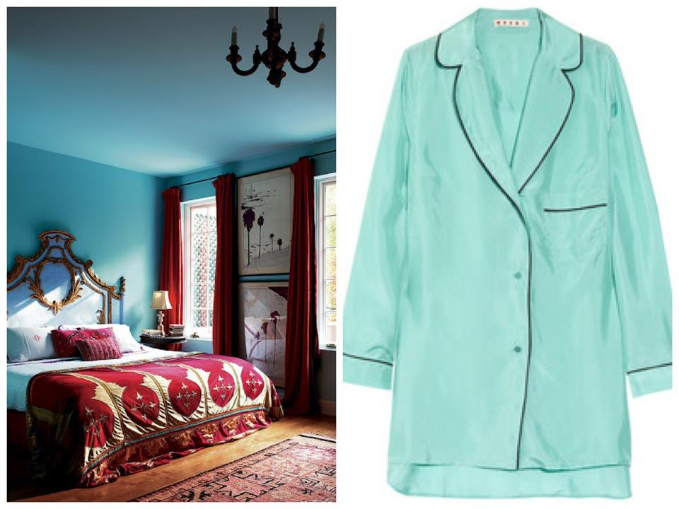 Nomad Luxuries photo collage of color inspiration for bedroom decor.