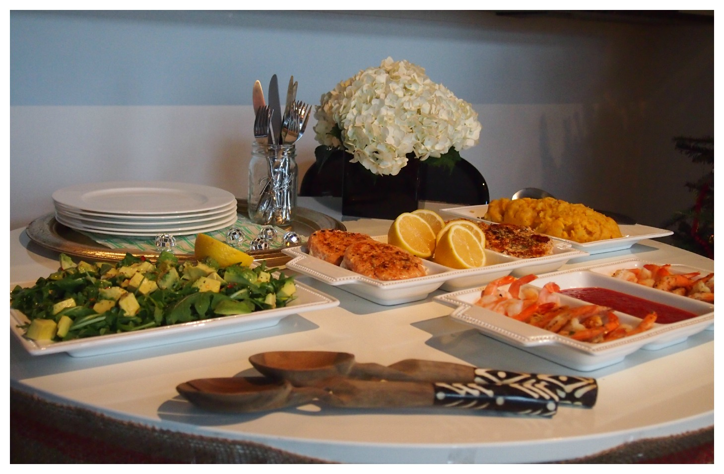 Nomad Luxuries; healthy and colorful food spread for St. Nicholas celebration.