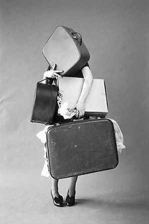 Nomad Luxuries  black and white vintage suitcase photo